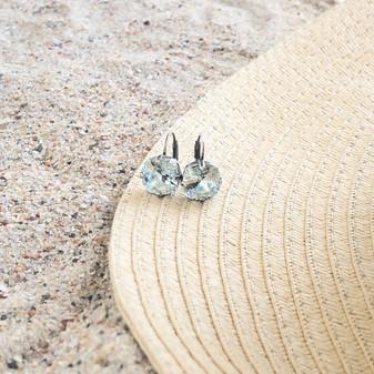Summer Blue Light Azure Huggie Drop Earrings