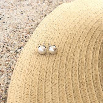 Petite Ocean Beauty White Pearl Stud Earrings