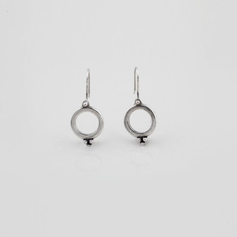 Petite cut-out french wire earrings in burnished silver