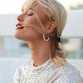 Summer Sparkles Sterling Silver Hoop Earrings