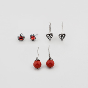 Petite French Wire Earring Set Featuring Amber Resin Beads (E2758)