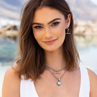Nautical Rope T-Bar Drop Earrings - E4925 - $49 Into The Blue Light Azure Pendant - EN1875 - $59 Love to Layer Necklace - N2071 - 40cm - $49