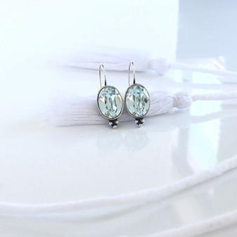Seaside Light Azure Oval Drop Earrings