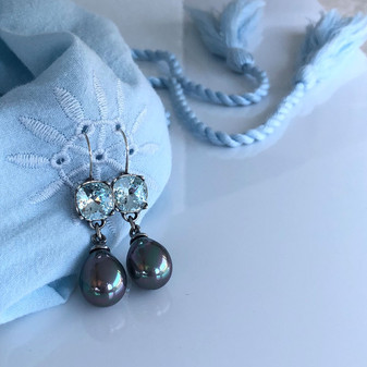 Ocean Beauty Light Azure Grey Pearl Drop Earrings