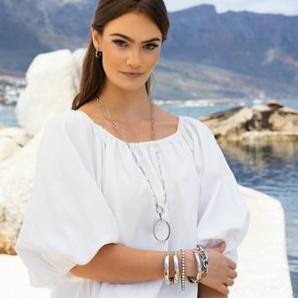 Nautical Hoop Earrings - E4880 - $39 Silver Waves Necklace - N2103 L 80cm - $99 Caprice Bangle - B1617 - $149 True Gem Tennis Bracelet - B1494 19cm - $199 Caprice Chain Bracelet - B1615 19cm - $89