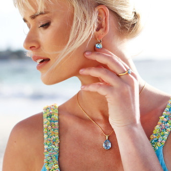 Summer Blue Aquamarine Gold Drop Earrings - E4887 - $89 18ct Gold-Plated Petite Chain Necklace - N2090 42cm - $89 Endless Summer Aquamarine Gold Vermeil Ring - RR440 - $159