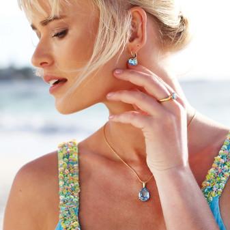 Summer Blue Aquamarine Gold Drop Earrings - E4887 - $89 Caprice Aquamarine Gold Vermeil Teardrop Pendant - EN1883 - $179 18ct Gold-Plated Petite Chain Necklace - N2090 42cm - $89