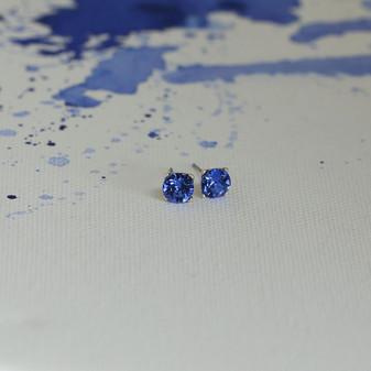 Sapphire Cornflower Blue Stud Earrings