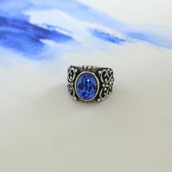 Sapphire Cornflower Blue Oval Ring
