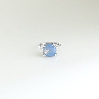 Air Blue Opal Claw-set Sterling Silver Ring