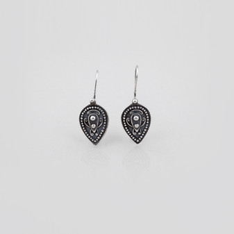 Petite spear french wire earrings in burnished silver with beading