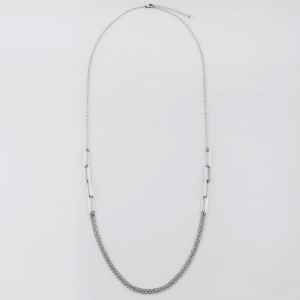 Burnished silver plated necklace with layers of belcher chain and geometric links - 90 cm plus extender