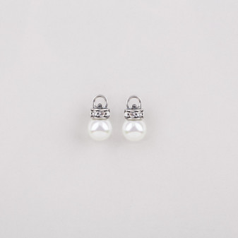 Burnished silver plated Pretty Woman earrings embellished with Swarovski® crystals and white shell pearls