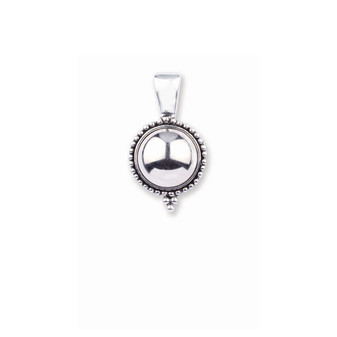 Silver cabochon Enhancer with Burnished Silver Beading