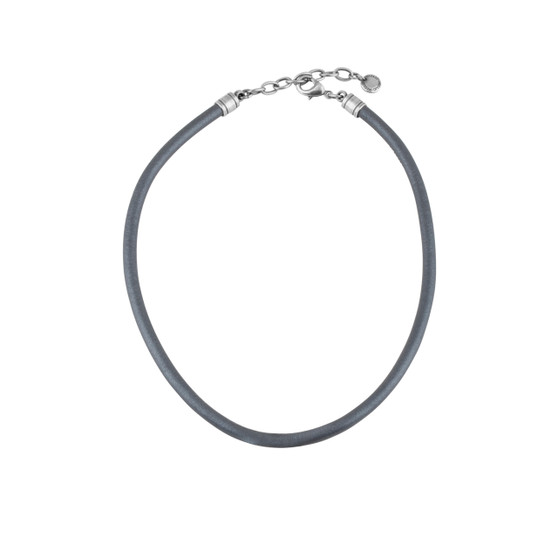 Ellie Steel Blue Sewn Leather Necklace