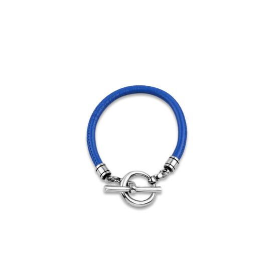 Royal Blue Sewn Leather Bracelet (B1316 S/M)