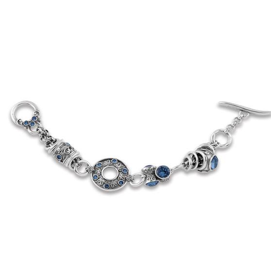 Denim Lily Rose Floral Bracelet (B1219)-$99
