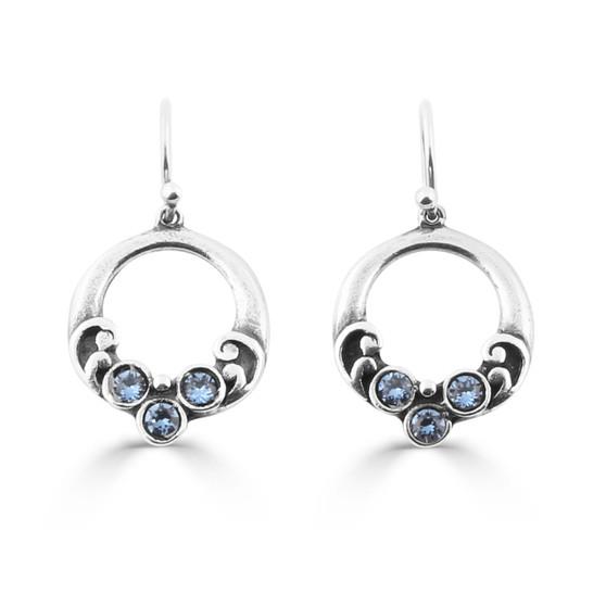 Denim Lily Rose Floral Drop Earrings (E4196)-$29