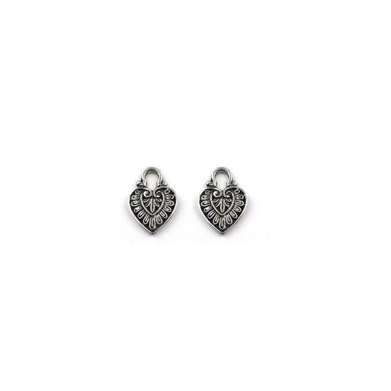 Burnished Silver Heart Earring Charms (E2467) - ships immediately from Perth