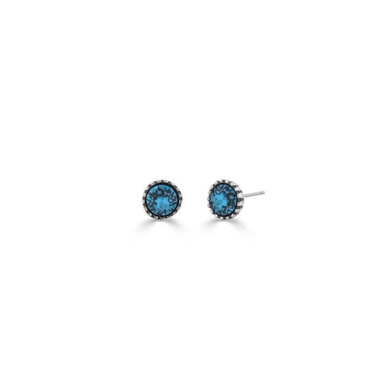 Sweetheart Blue Zircon Stud Earrings (E4612)