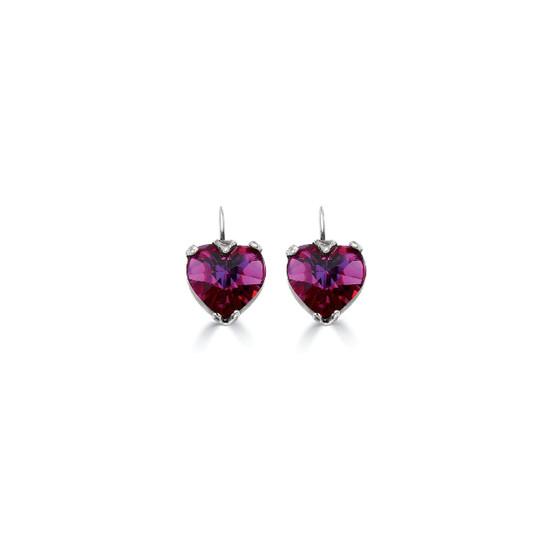 Fuschia Heart Drop Earrings (E946)