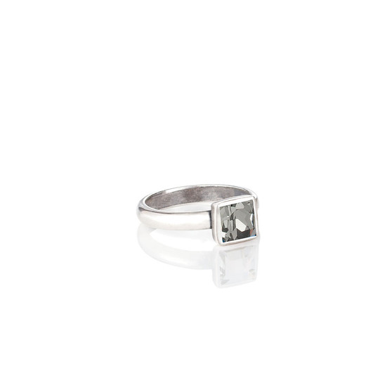 Square Black Diamond Ring