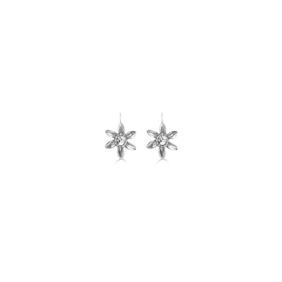 Petite Blossom Earrings - Burnished Silver / Flower Earrings / Swarovski Crystal /  Floral Jewellery / Gift For Her