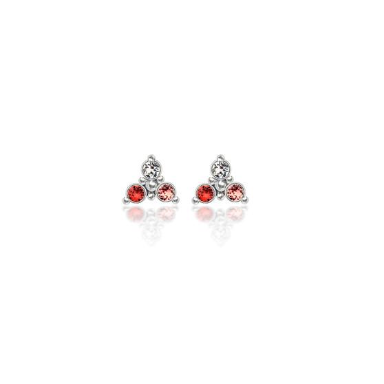 Peach Trilogy Cluster Stud Earrings