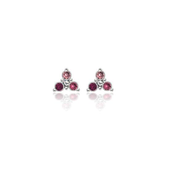 Magenta Trilogy Cluster Stud Earrings