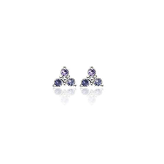 Lavender Trilogy Cluster Stud Earrings