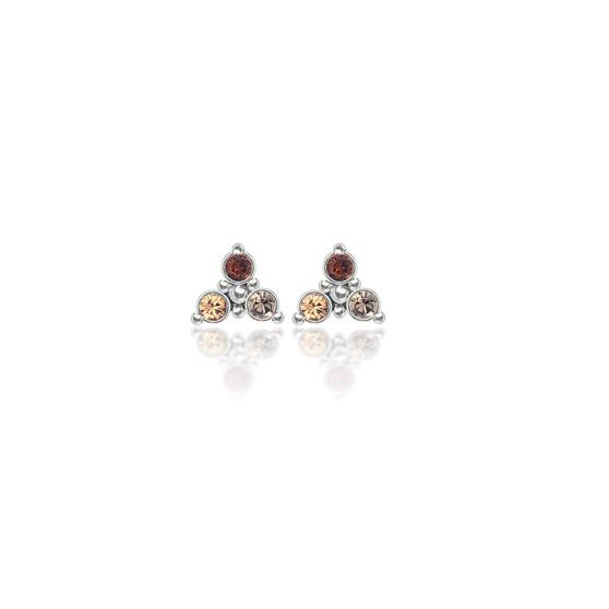 Brown Sugar Trilogy Cluster Stud Earrings