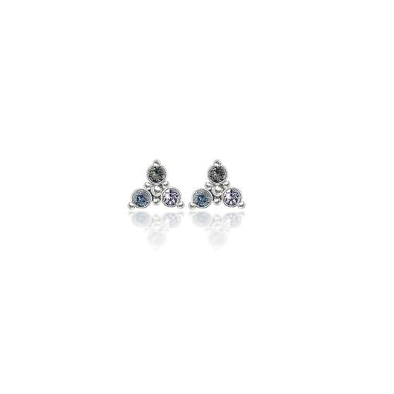 Misty Blue Trilogy Cluster Stud Earrings
