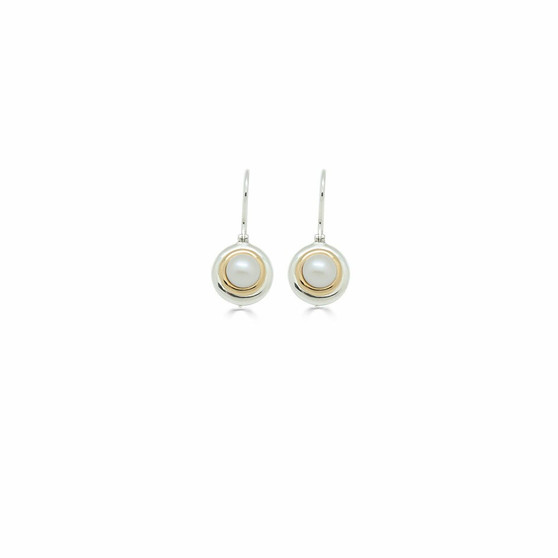 Kiss of Gold Mabe Pearl Drop Earrings