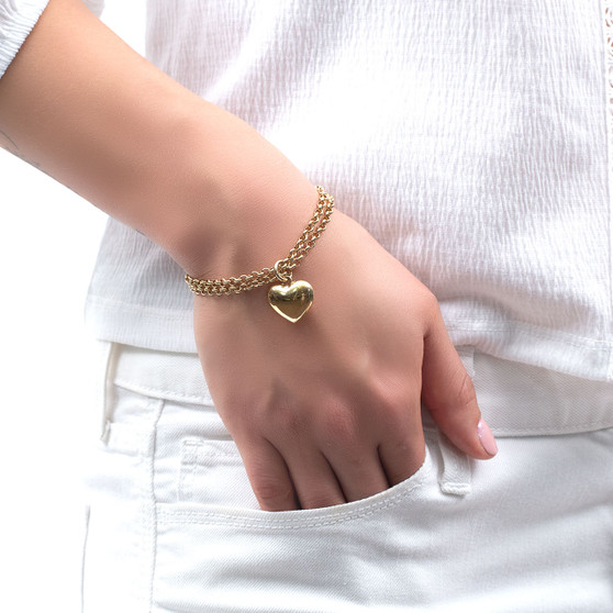 18ct Gold-plated Heart Charm Bracelet