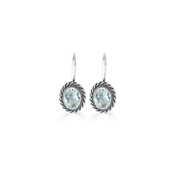 Atlantis  Light Azure Oval Drop Earrings