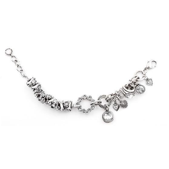 Hypnotic Burnished Silver Charms and Swarovski Crystal Bracelet