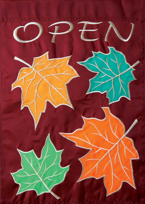Fall Open - Applique Garden Flag by Toland