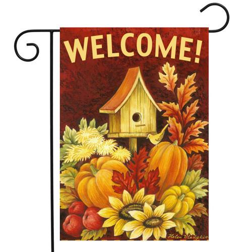 Fall Birdhouse - Garden Flag by Toland