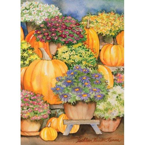 Pumpkins & Mums - Garden Flag by Toland