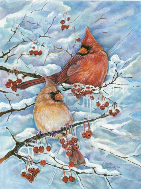 Cardinals & Berries - Garden Flag by Toland