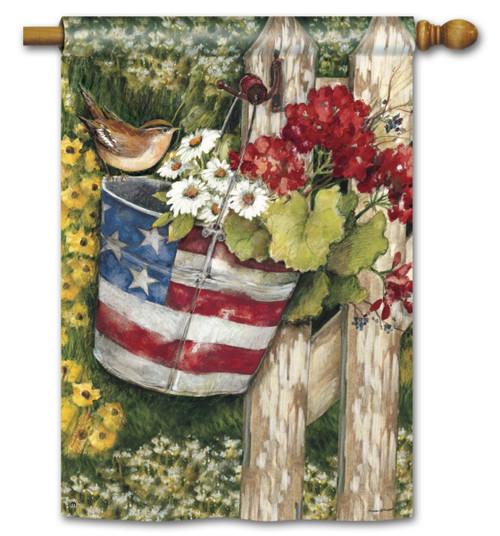 Patriotic Pail Garden Flag