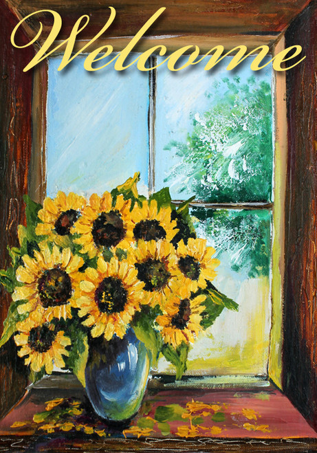 Sunflowers View - Garden Flag by Serious