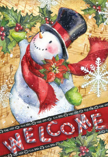 Candy Cane Snowman - Garden Flag by Toland