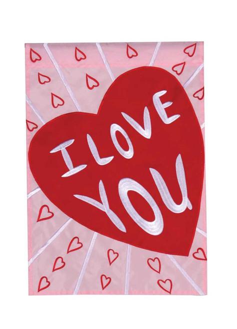 I Love You Standard Applique Flag