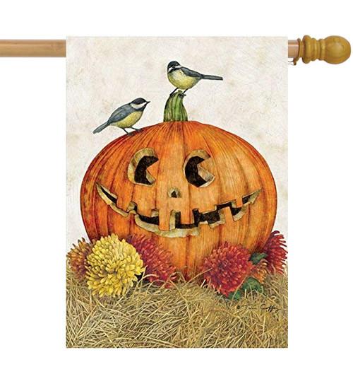 Happy Jack-o'-lantern - Large Garden Flag by Lang