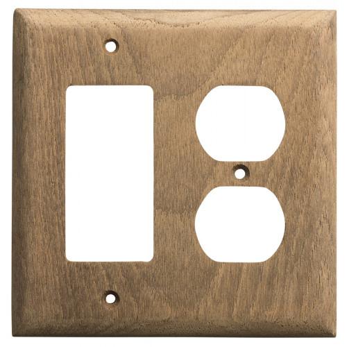 Whitecap Teak Rocker Switch\/Duplex Receptacle Cover Plate [60175]