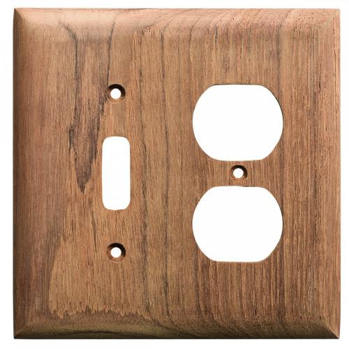 Whitecap Teak Toggle Switch\/Duplex\/Receptacle Cover Plate [60178]