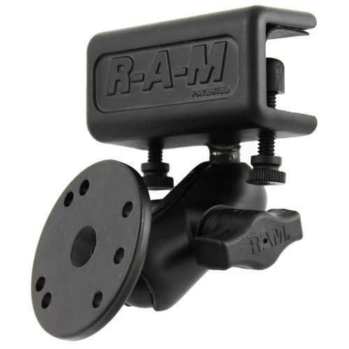 RAM Mount Glare Shield Clamp Mount w\/Short Double Socket Arm & Round Base Adapter w\/AMPs Hole Pattern [RAM-B-177-202U]