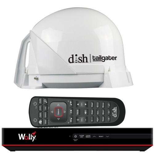 KING DISH Tailgater Satellite TV Antenna Bundle w\/DISH Wally HD Receiver  Cables [DT4450]