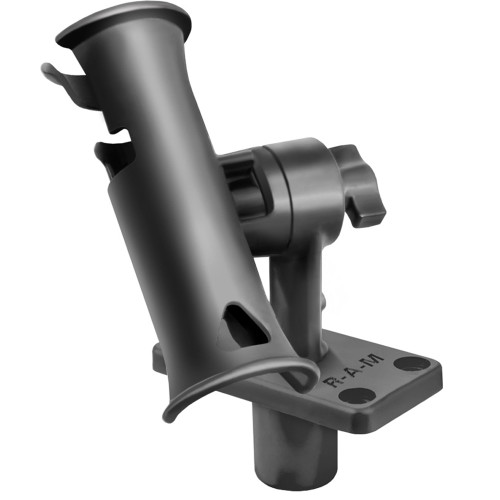 "RAM Mount RAM Tube Jr. Rod Holder w\/Short 4"" Length Post Spline & Flush Mounting Base [RAP-390-SFU]"